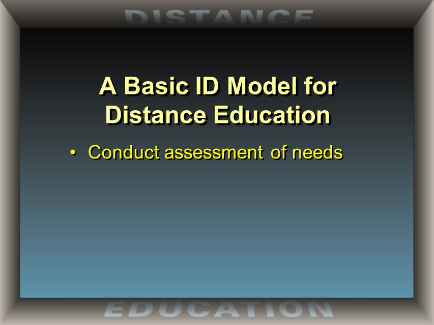 A Basic ID Model for Distance Education Conduct assessment of needs