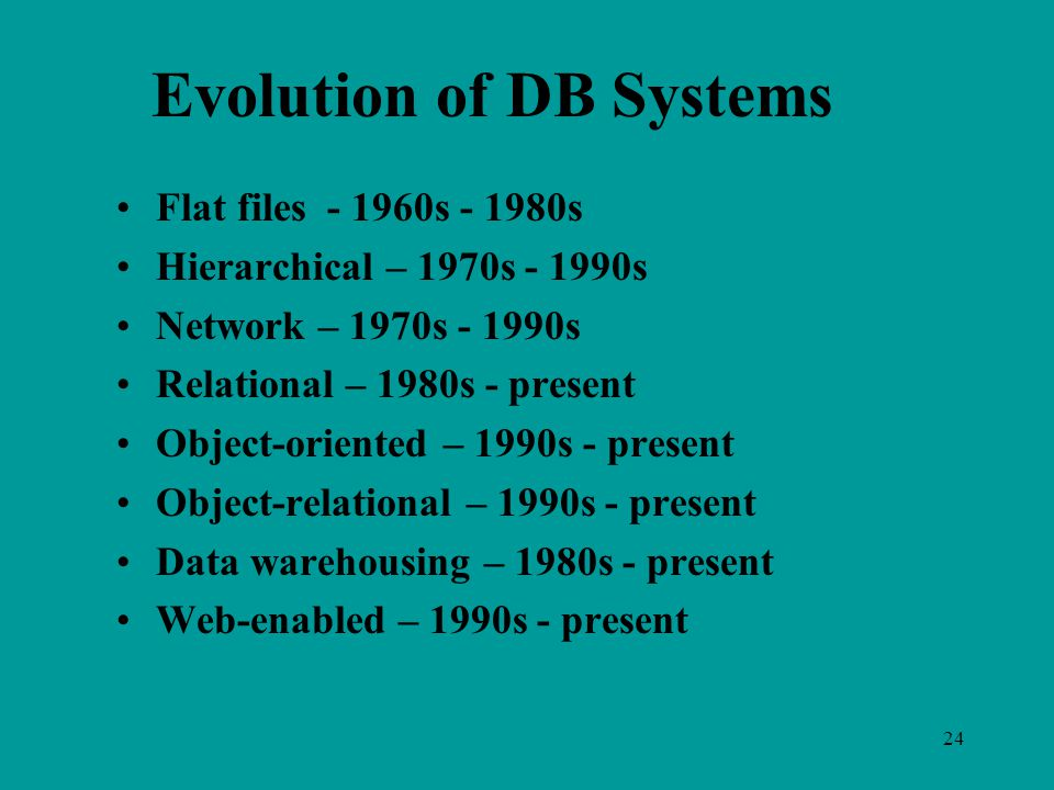 24 Evolution of DB Systems Flat files s s Hierarchical – 1970s s Network – 1970s s Relational – 1980s - present Object-oriented – 1990s - present Object-relational – 1990s - present Data warehousing – 1980s - present Web-enabled – 1990s - present