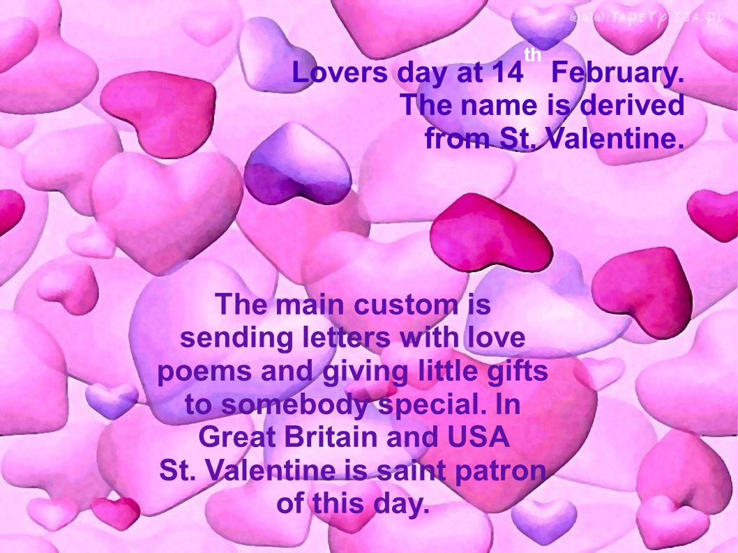 Valentine S Day Lovers Day At 14 Th February The Name Is Derived