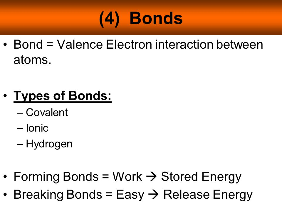 (4) Bonds Bond = Valence Electron interaction between atoms.