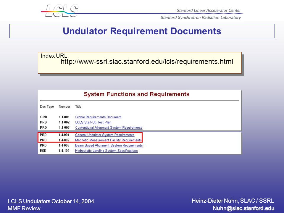 LCLS Undulators October 14, 2004 Heinz-Dieter Nuhn, SLAC / SSRL MMF Review Undulator Requirement Documents Index URL: