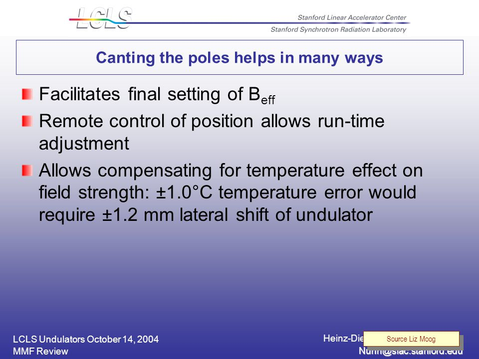 LCLS Undulators October 14, 2004 Heinz-Dieter Nuhn, SLAC / SSRL MMF Review Canting the poles helps in many ways Facilitates final setting of B eff Remote control of position allows run-time adjustment Allows compensating for temperature effect on field strength: ±1.0°C temperature error would require ±1.2 mm lateral shift of undulator Source Liz Moog