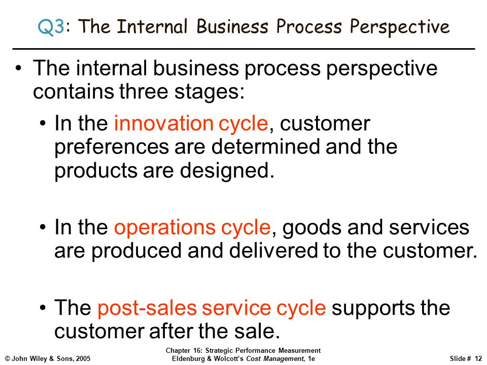 © John Wiley & Sons, 2005 Chapter 16: Strategic Performance Measurement Eldenburg & Wolcott's Cost Management, 1eSlide # 12 Q3: The Internal Business Process Perspective The internal business process perspective contains three stages: In the innovation cycle, customer preferences are determined and the products are designed.