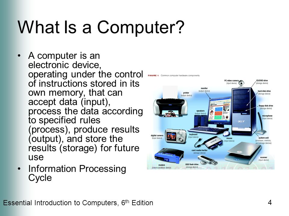 Essential Introduction to Computers, 6 th Edition 4 What Is a Computer.