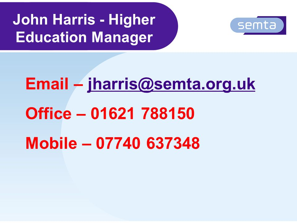 John Harris - Higher Education Manager  – Office – Mobile –