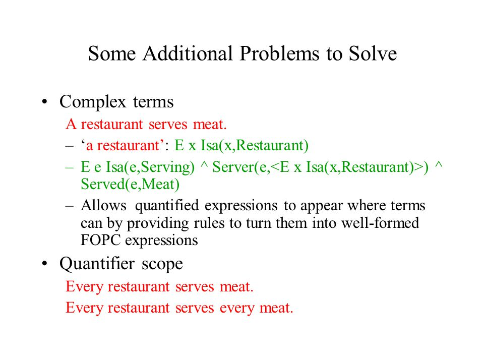 Some Additional Problems to Solve Complex terms A restaurant serves meat.