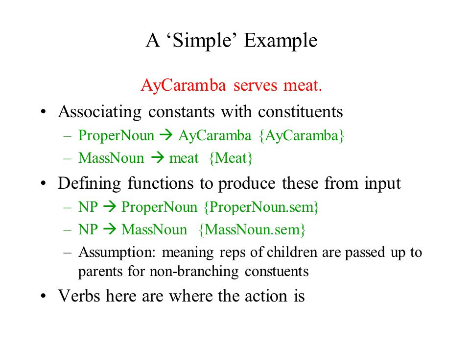 A 'Simple' Example AyCaramba serves meat.
