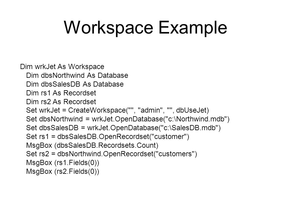 VBA Data Access Object  Data Access Objects DAO With DAO we can