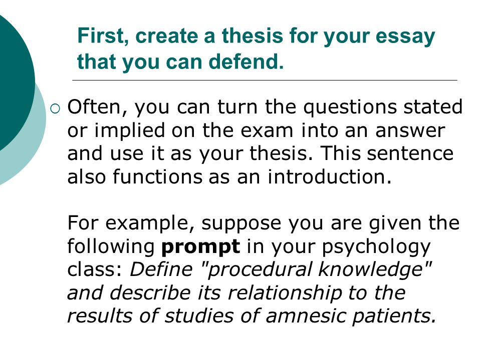 First, create a thesis for your essay that you can defend.