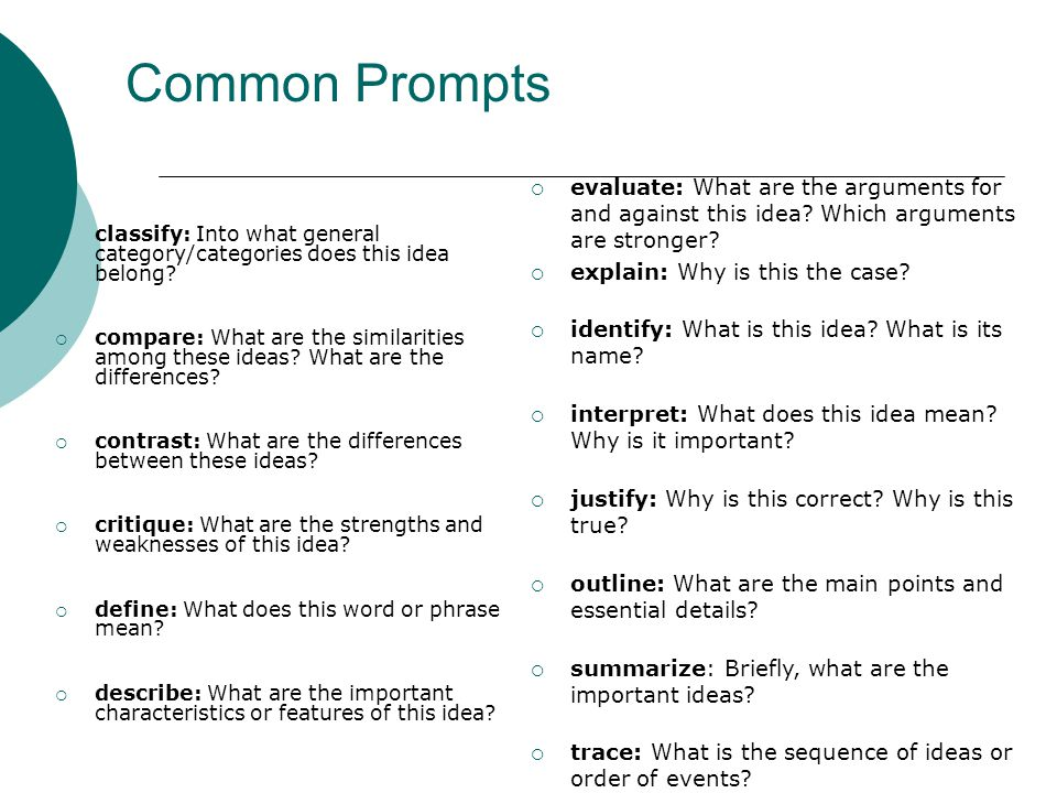 Common Prompts  classify: Into what general category/categories does this idea belong.
