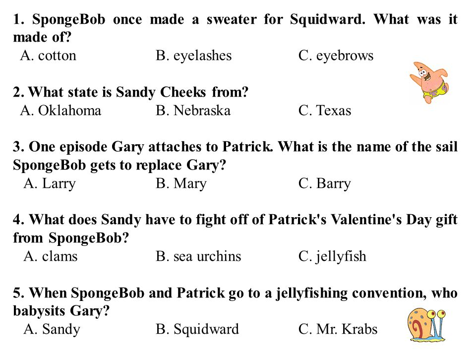 T Trimpe Spongebob Once Made A Sweater For Squidward What Was It