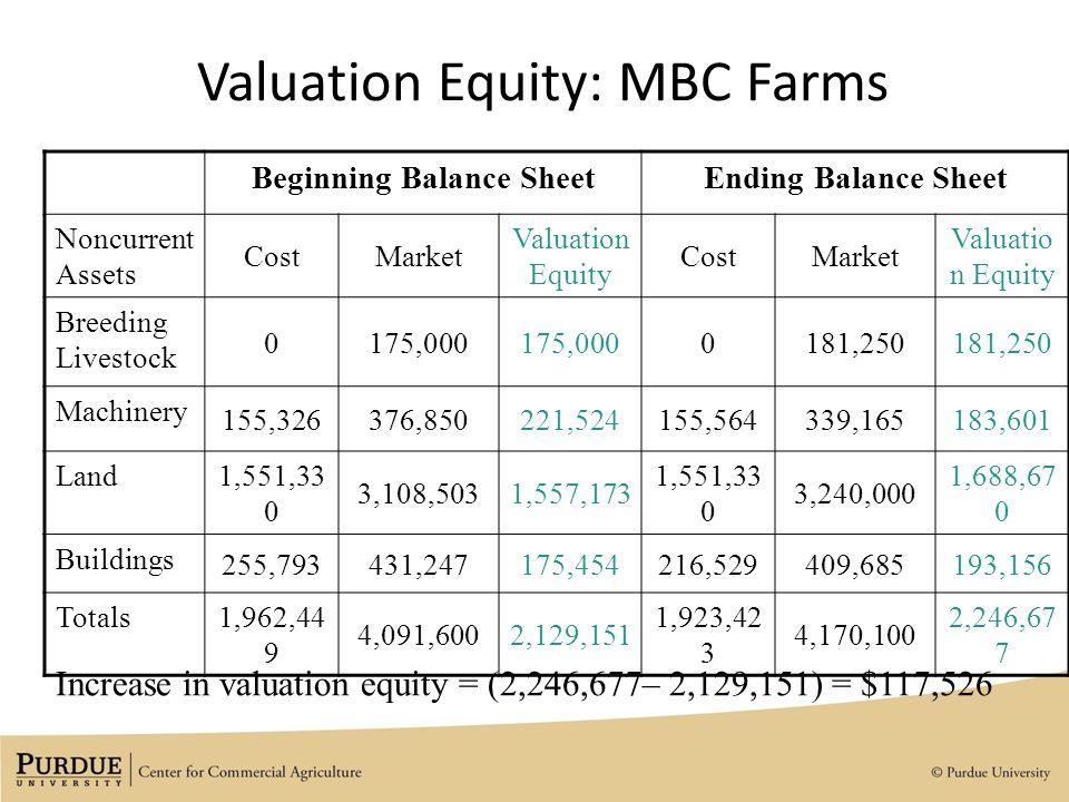 20 valuation equity mbc farms beginning balance sheetending balance sheet