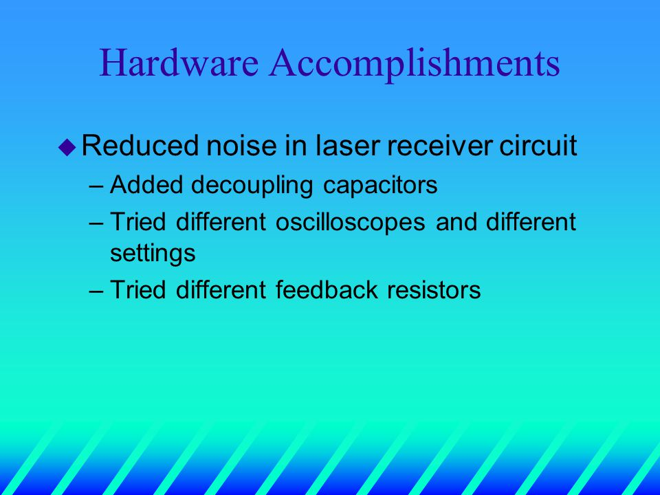 Hardware Accomplishments u Reduced noise in laser receiver circuit –Added decoupling capacitors –Tried different oscilloscopes and different settings –Tried different feedback resistors