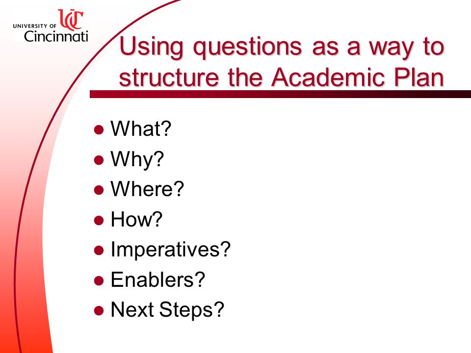 Using questions as a way to structure the Academic Plan What.