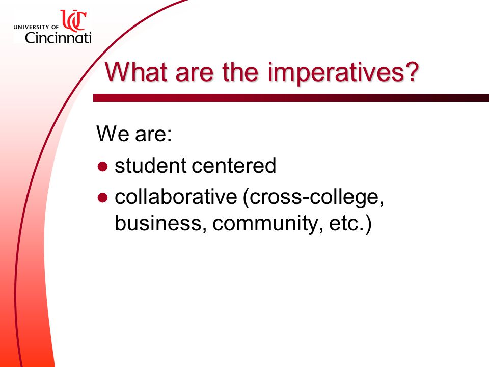 What are the imperatives.