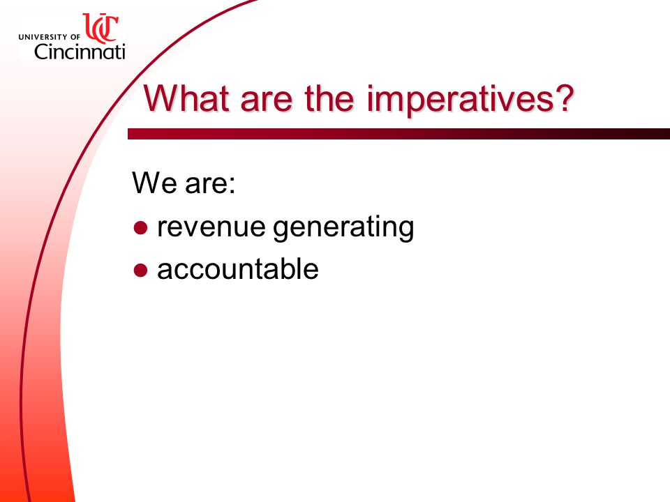 What are the imperatives We are: revenue generating accountable