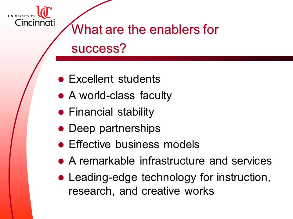 What are the enablers for success.