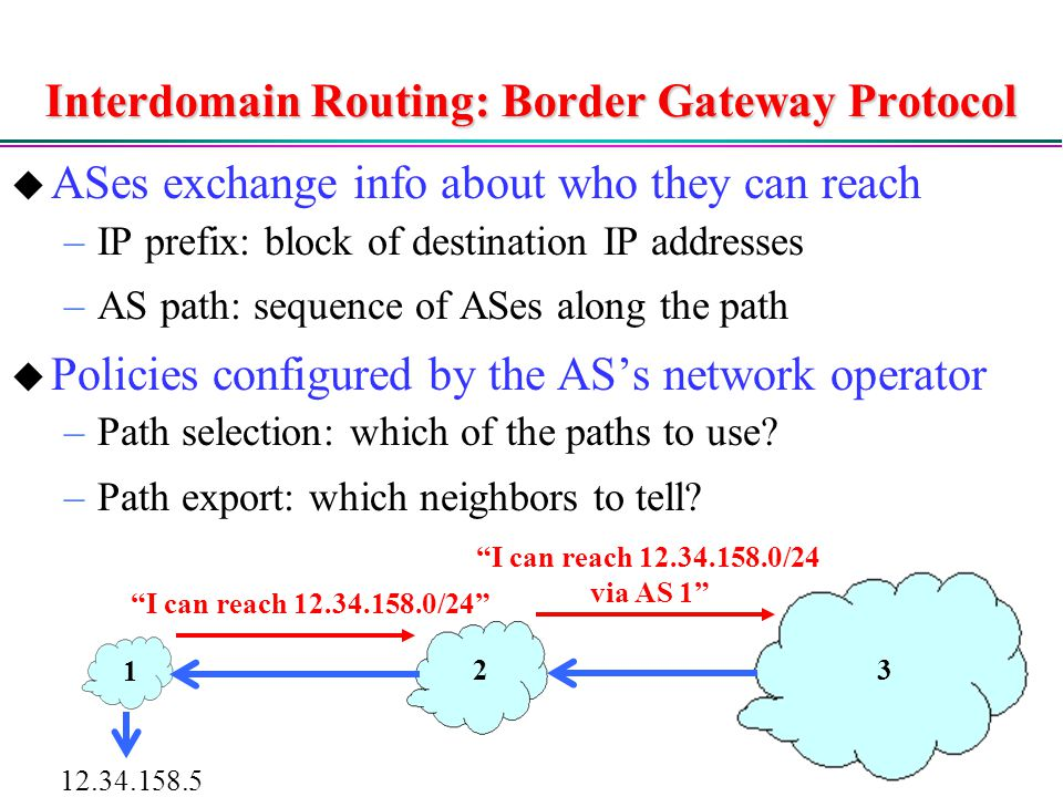 Interdomain Routing: Border Gateway Protocol  ASes exchange info about who they can reach –IP prefix: block of destination IP addresses –AS path: sequence of ASes along the path  Policies configured by the AS's network operator –Path selection: which of the paths to use.