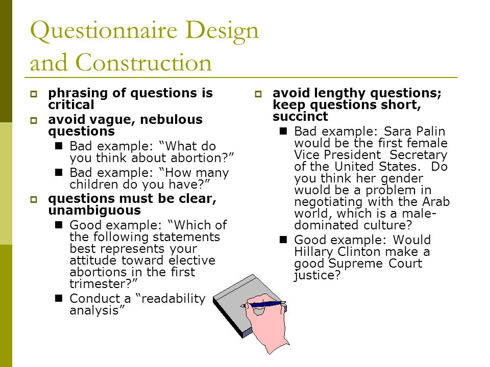 types of questionnaires for research A lecture on questionnaire design by graham r gibbs taken from a series on research methods and research design given to masters (graduate) students at the.
