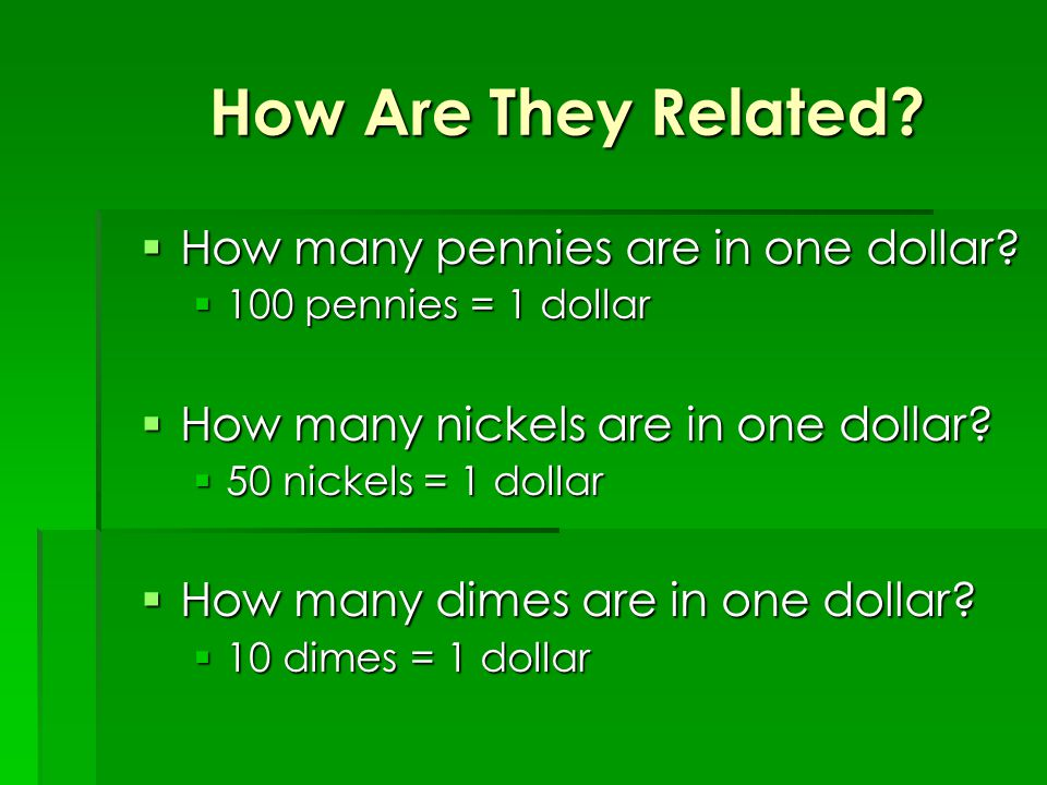 How Are They Related.  How many pennies are in one dollar.