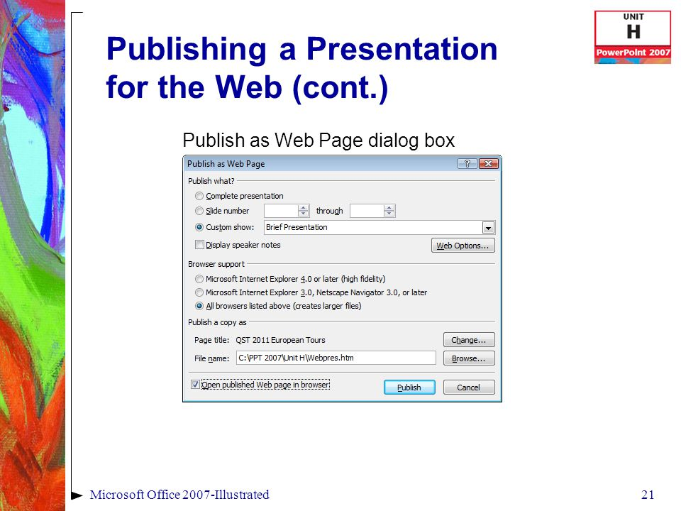 21Microsoft Office 2007-Illustrated Publishing a Presentation for the Web (cont.) Publish as Web Page dialog box