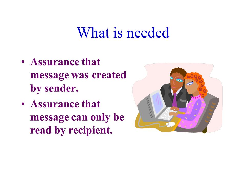 What is needed Assurance that message was created by sender.