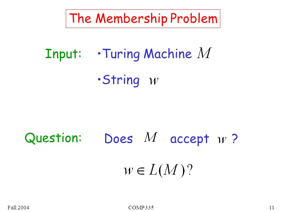 Fall 2004COMP The Membership Problem Input:Turing Machine String Question: Does accept