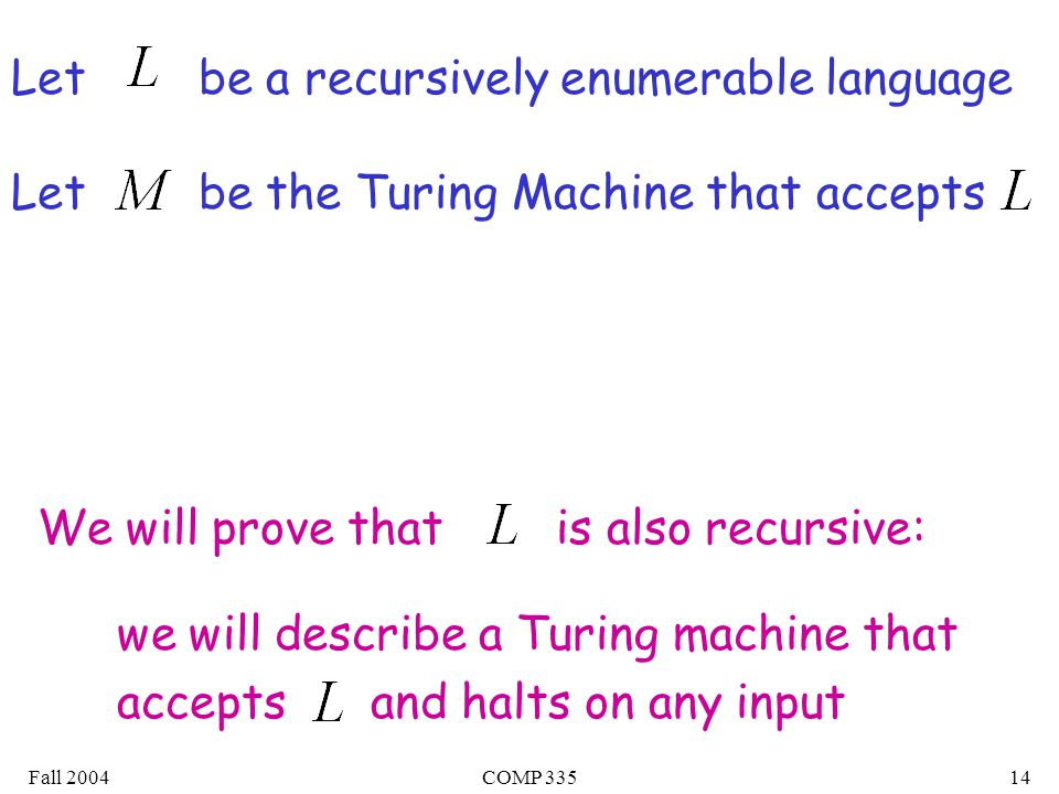 Fall 2004COMP Let be a recursively enumerable language Let be the Turing Machine that accepts We will prove that is also recursive: we will describe a Turing machine that accepts and halts on any input