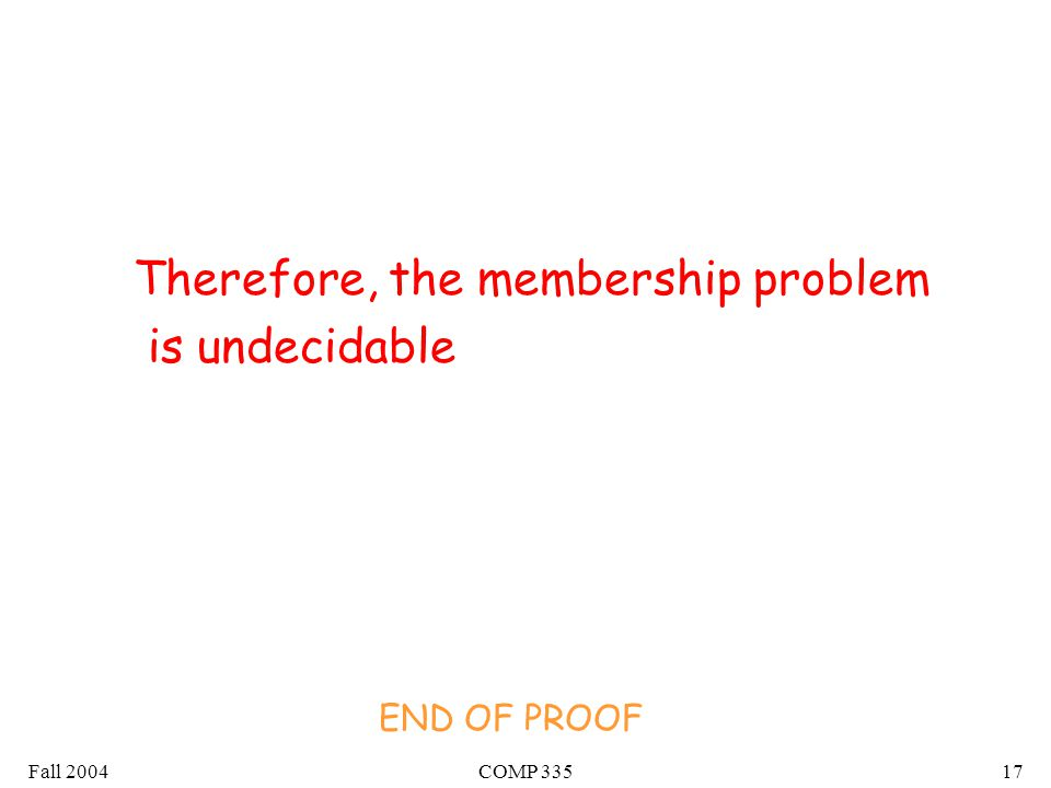 Fall 2004COMP Therefore, the membership problem is undecidable END OF PROOF