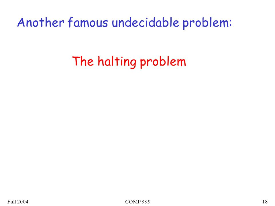 Fall 2004COMP Another famous undecidable problem: The halting problem