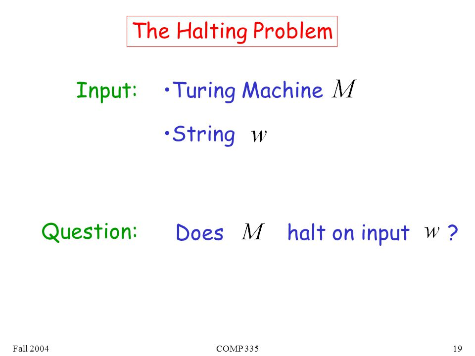 Fall 2004COMP The Halting Problem Input:Turing Machine String Question: Does halt on input