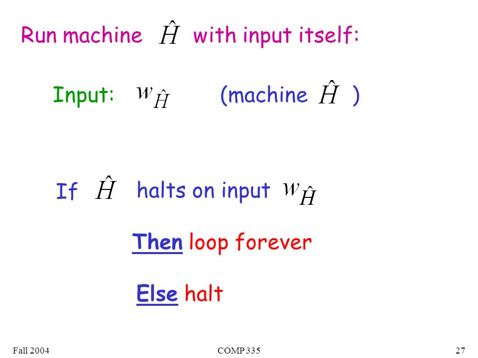 Fall 2004COMP Run machine with input itself: Input: If halts on input Then loop forever Else halt (machine )