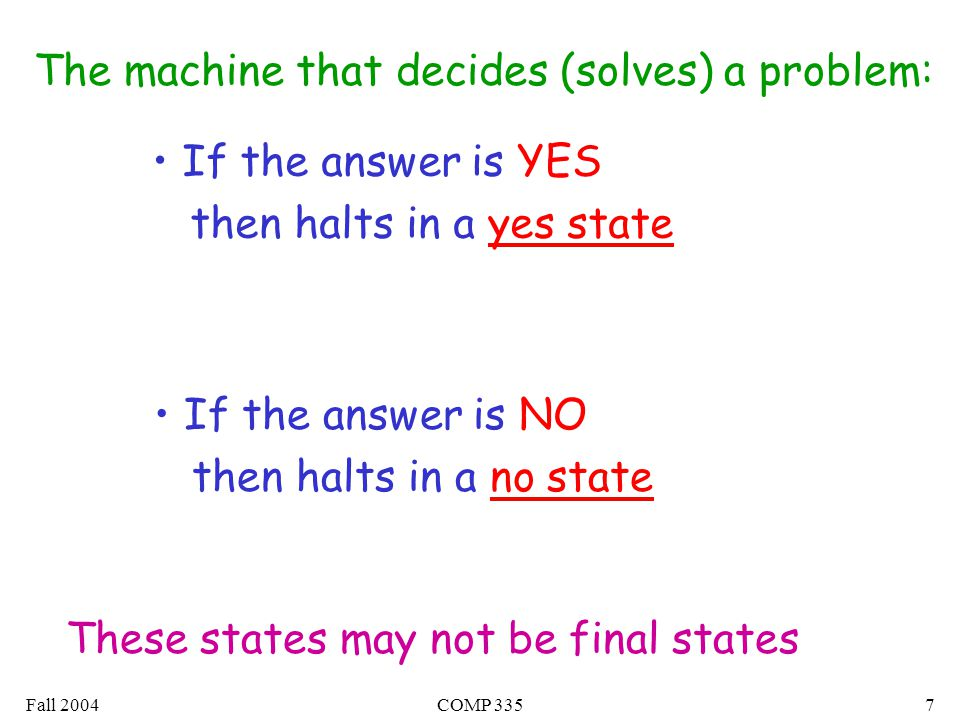 Fall 2004COMP 3357 The machine that decides (solves) a problem: If the answer is YES then halts in a yes state If the answer is NO then halts in a no state These states may not be final states
