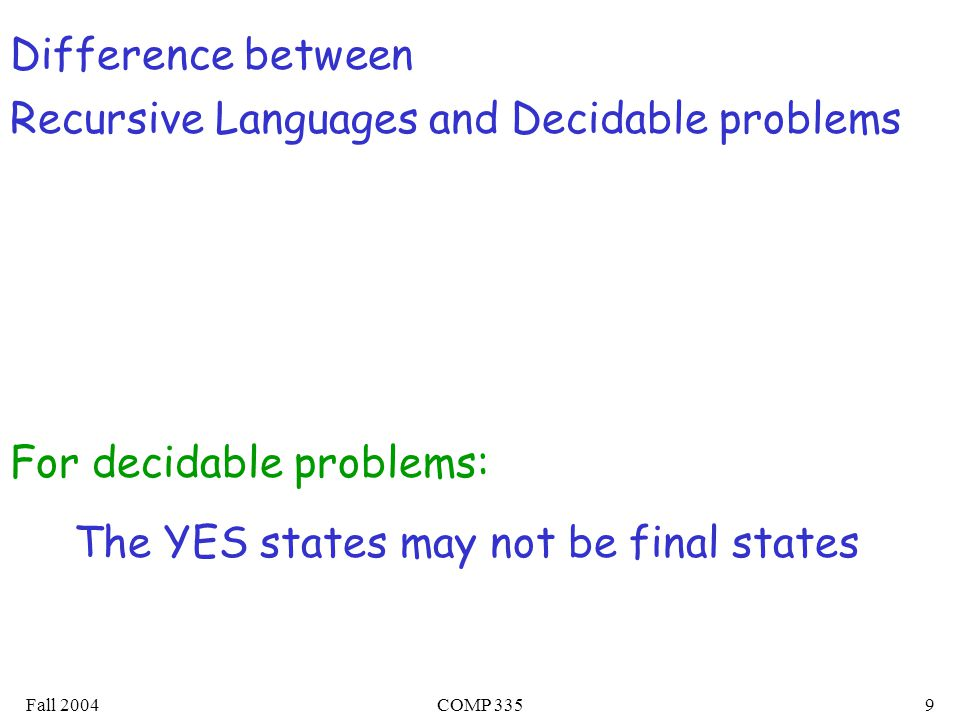 Fall 2004COMP 3359 Difference between Recursive Languages and Decidable problems The YES states may not be final states For decidable problems:
