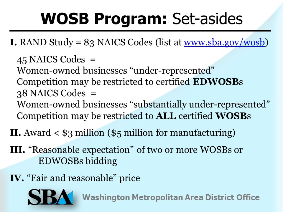 Washington Metropolitan Area District Office WOSB Program: Set-asides I.