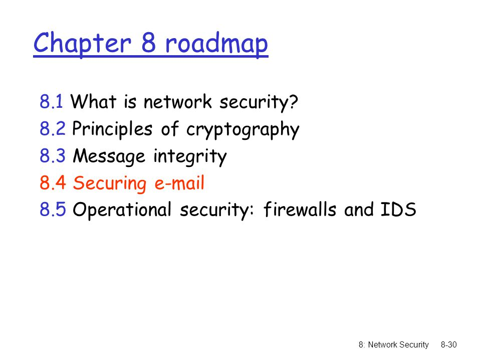 8: Network Security8-30 Chapter 8 roadmap 8.1 What is network security.
