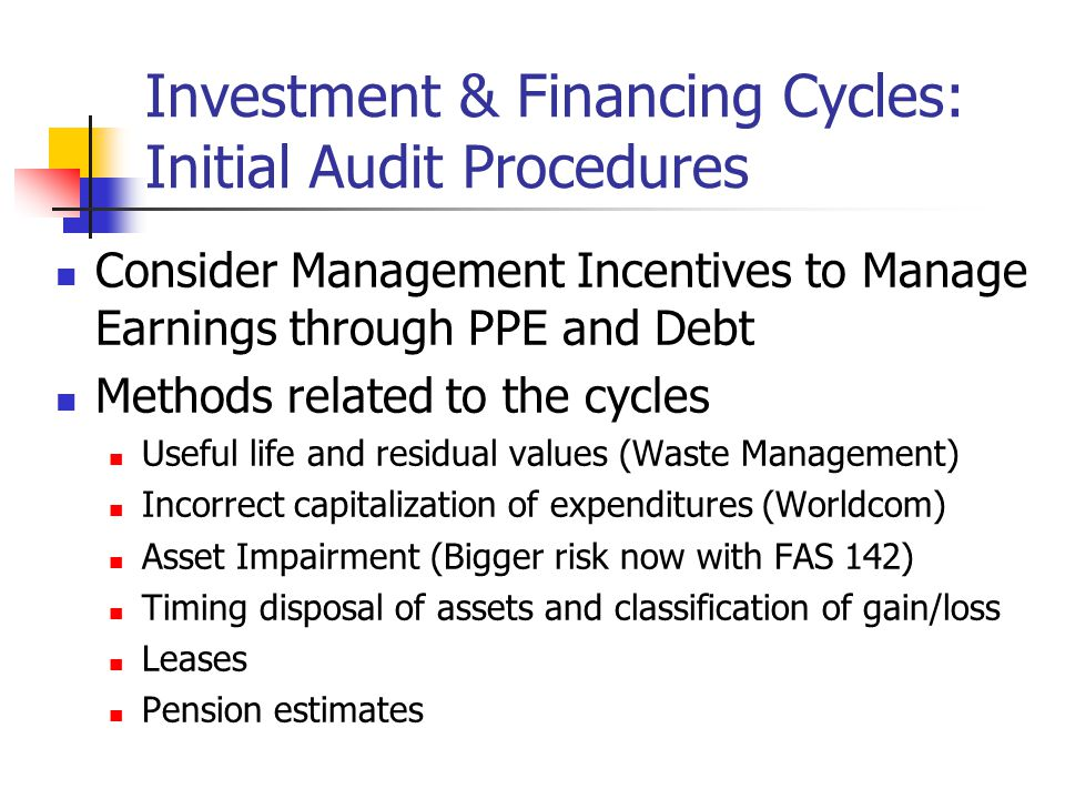 finance and investment cycle auditing and assurance