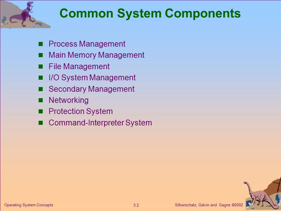 Silberschatz, Galvin and Gagne  Operating System Concepts Common System Components Process Management Main Memory Management File Management I/O System Management Secondary Management Networking Protection System Command-Interpreter System