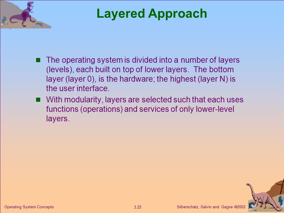 Silberschatz, Galvin and Gagne  Operating System Concepts Layered Approach The operating system is divided into a number of layers (levels), each built on top of lower layers.