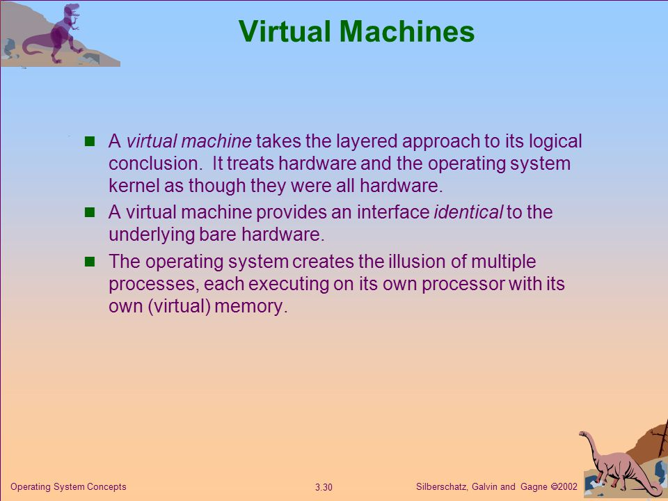 Silberschatz, Galvin and Gagne  Operating System Concepts Virtual Machines A virtual machine takes the layered approach to its logical conclusion.