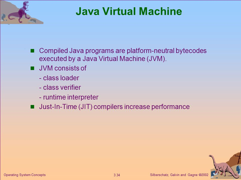 Silberschatz, Galvin and Gagne  Operating System Concepts Java Virtual Machine Compiled Java programs are platform-neutral bytecodes executed by a Java Virtual Machine (JVM).