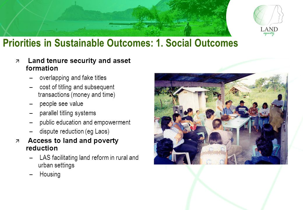 Priorities in Sustainable Outcomes: 1.