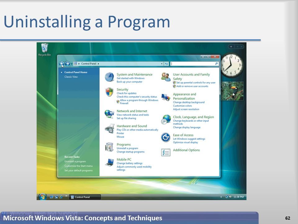 Uninstalling a Program Microsoft Windows Vista: Concepts and Techniques 62