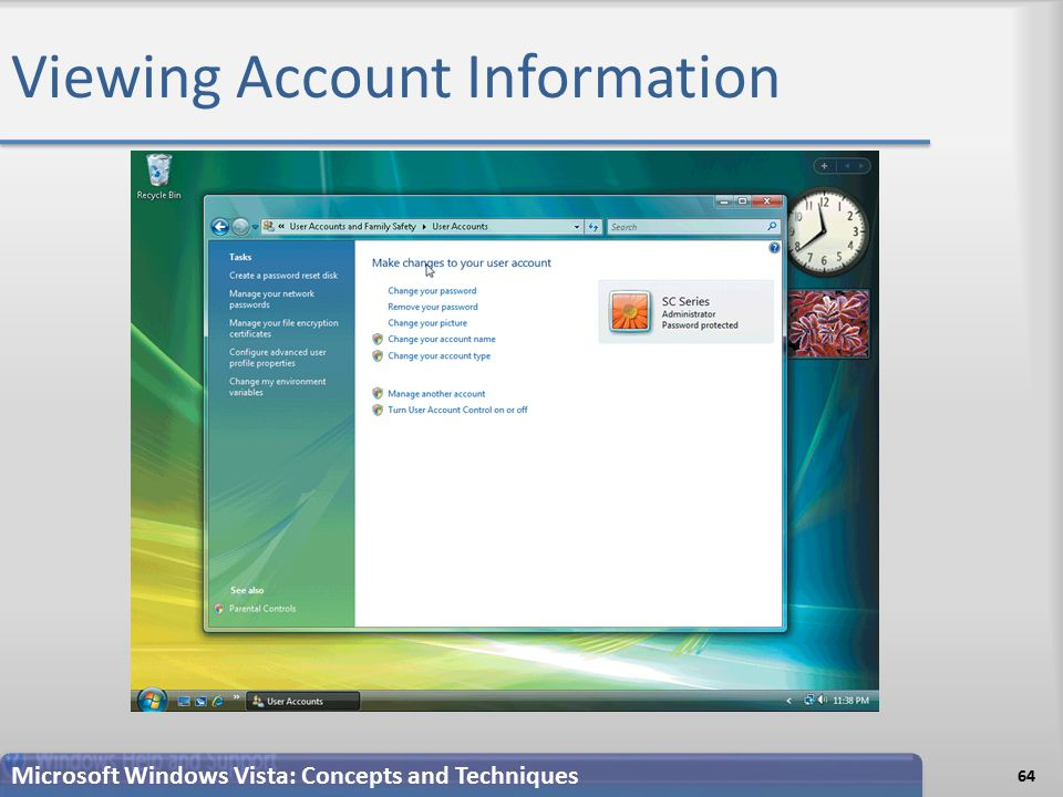 Viewing Account Information 64 Microsoft Windows Vista: Concepts and Techniques