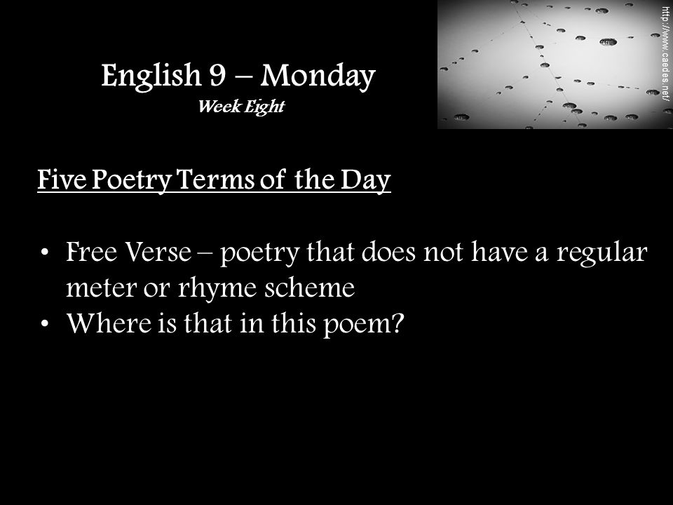Five Poetry Terms of the Day Free Verse – poetry that does not have a regular meter or rhyme scheme Where is that in this poem.