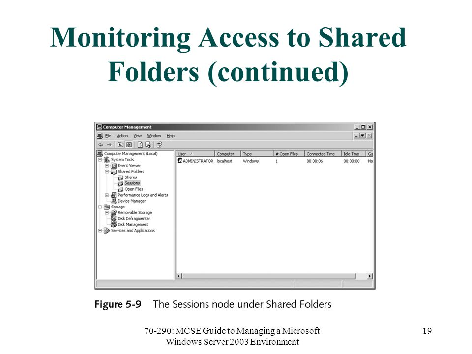 70-290: MCSE Guide to Managing a Microsoft Windows Server 2003 Environment 19 Monitoring Access to Shared Folders (continued)
