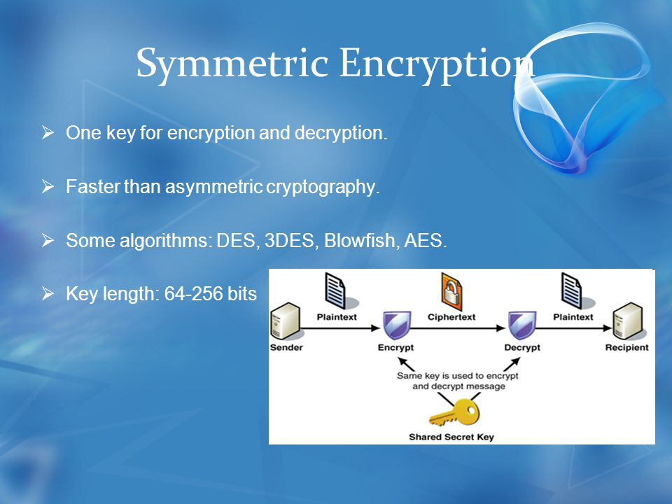 Symmetric Encryption  One key for encryption and decryption.