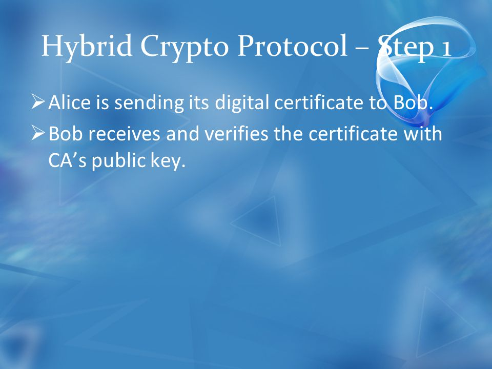 Hybrid Crypto Protocol – Step 1  Alice is sending its digital certificate to Bob.