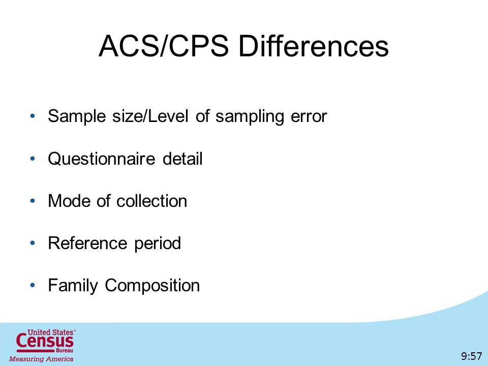 ACS/CPS Differences Sample size/Level of sampling error Questionnaire detail Mode of collection Reference period Family Composition 9:57