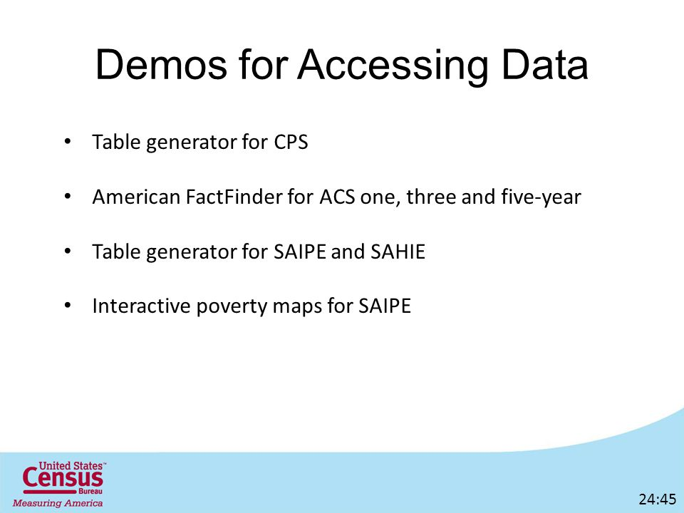 Demos for Accessing Data Table generator for CPS American FactFinder for ACS one, three and five-year Table generator for SAIPE and SAHIE Interactive poverty maps for SAIPE 24:45